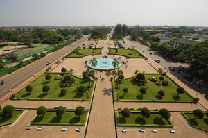 Vientiane cityscape, high angle view from the capital of Laos