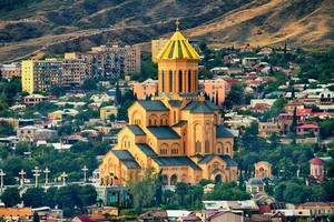 View of the Holy Trinity Cathedral Tsminda Sameba in Tbilisi