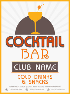 Vinatge menu card design of Cocktail Bar for club pub and night beer party.