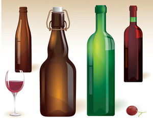 Vine Bottles. Vector.