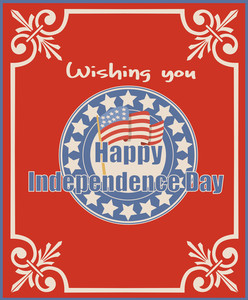 Vintage American Happy Independence Day Greeting Vector