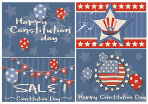 Vintage Background  Constitution Day Vector Illustration