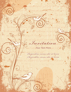 Vintage Background With Birds Vector Illustration
