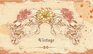Vintage Background With Floral Vector Illustration