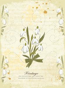 Vintage Background With Floral Vector Illustration