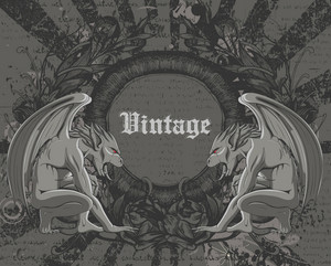 Vintage Background With Gargoyles Vector Illustration