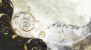 Vintage Background With Gold Floral Vector Illustration