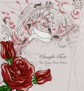 Vintage Background With Roses Vector Illustration