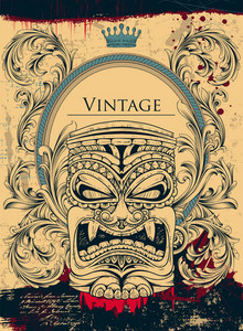 Vintage Background With Totem Vector Ilustration