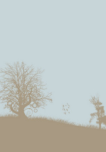 Vintage Background With Trees Vector Illustration