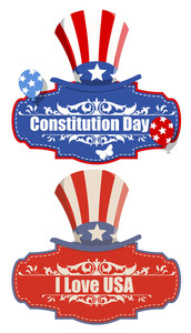 Vintage Banner  Constitution Day Vector Illustration