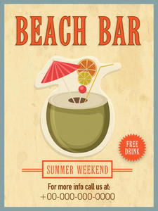 Vintage Beach Bar template banner or flyer design for summer weekend.