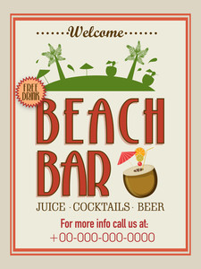 Vintage Beach Bar template banner or flyer design with free drinks offer.