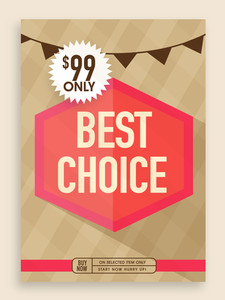 Vintage Best Choice poster banner or flyer design for sale.