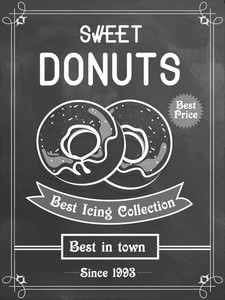 Vintage best in town menu card with chalkboard background for sweet donuts shop.