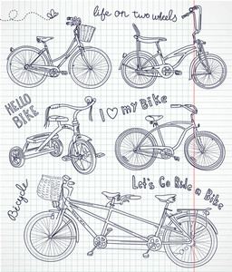 Vintage Bicycle Set In The Notebook