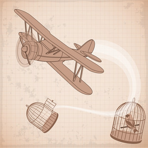 Vintage Biplane Fly To Freedom Abstract. Vector.