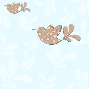 Vintage Birds Holiday Background