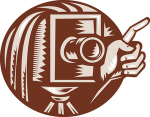 Vintage Camera Hand Pointing Retro Woodcut