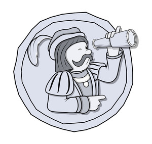 Vintage Cartoon Man With Binocular Vector Graphic