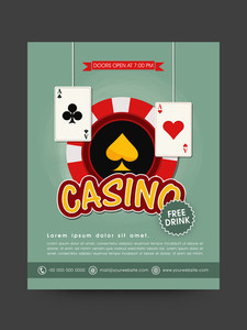 Vintage Casino flyer or template design decorated with poker chip and ace playing cards.