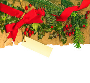 Vintage Christmas Border With Empty Tag Isolated On White Background