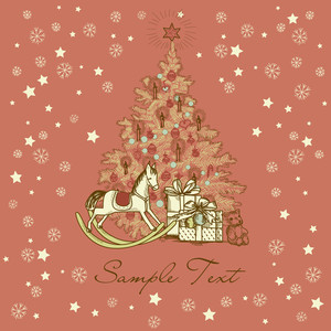 Vintage Christmas Card . Beautiful Christmas Tree Illustration