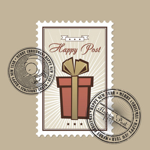 Vintage Christmas Postage Set. Vector Illustration