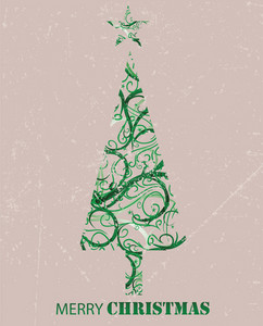 Vintage Christmas Tree Background
