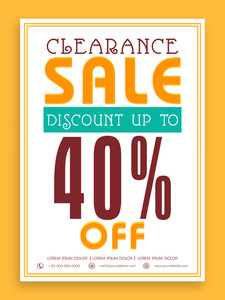 Vintage Clearance Sale with 40% discount offer can be used as poster