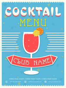 Vintage Cocktail menu card design for club pub and beer bar.