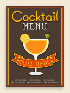 Vintage Cocktail menu card design for club pub