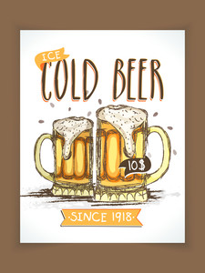 Vintage Cold Beer menu card design with price detail for club pub or beer bar.