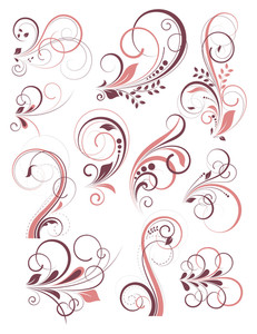 Vintage Colored Decorative Flourish Elements Set