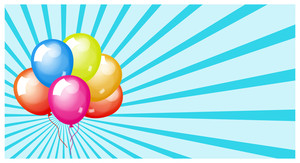 Vintage Colorful Balloons Sunburst Background