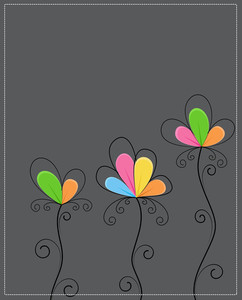 Vintage Colorful Flowers Template
