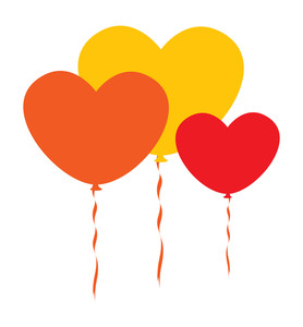 Vintage Colorful Hearts Balloons