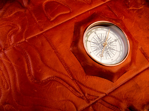Vintage Compass On The Leather Texture
