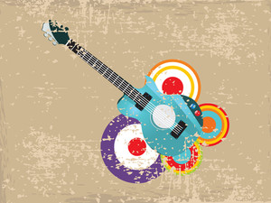 Vintage concept with guitar on abstract background.