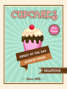 Vintage cupcakes menu card flyer