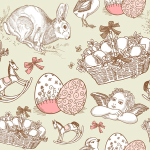 Vintage Easter Seamless Background