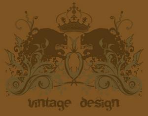 Vintage Emblem With Floral