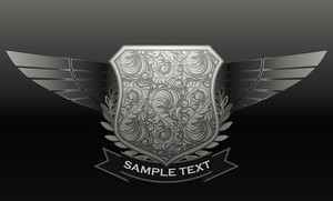 Vintage Emblem With Shield And Wings Vector Illustration