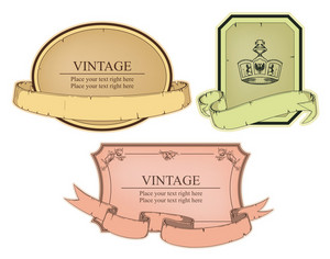 Vintage Emblems Set Vector Illustration