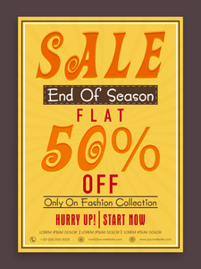 Vintage End of Season Sale poster banner or flyer design with flat discount offer on fashion collection.