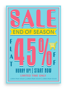 Vintage End of Season Sale poster banner or flyer design with flat discount offer.