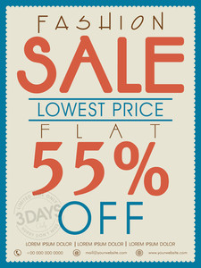 Vintage Fashion Sale poster banner or flyer design with flat discount offer.