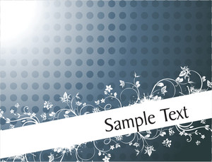 Vintage Floral Background For Sample Text In Gradient Blue