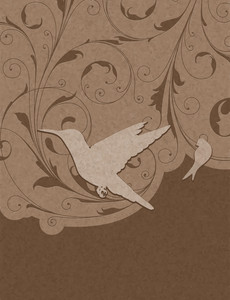 Vintage Floral Background With Birds Vector Illustration