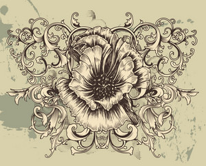 Vintage Floral Background With Hibiscus Vector Illustration